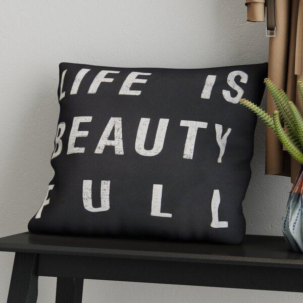 Stephanie Typography 100% Cotton Pillow Cover by Zipcode Design